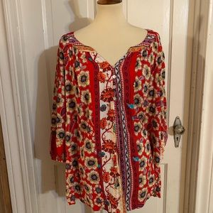 NWT Anthro Fig and Flower Multiprint Boho Top. 2x